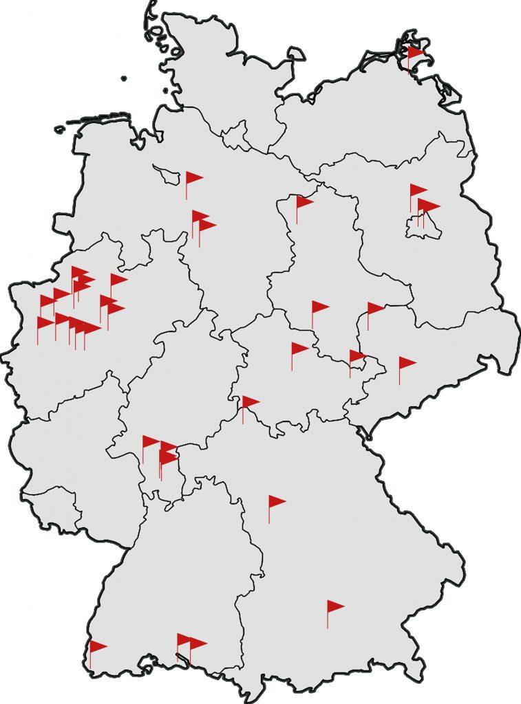 Deutschlandkarte Rollhockeyvereine